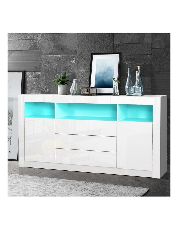 Buffet Sideboard Cabinet 3 Drawers High Gloss Storage Cupboard LED image 6