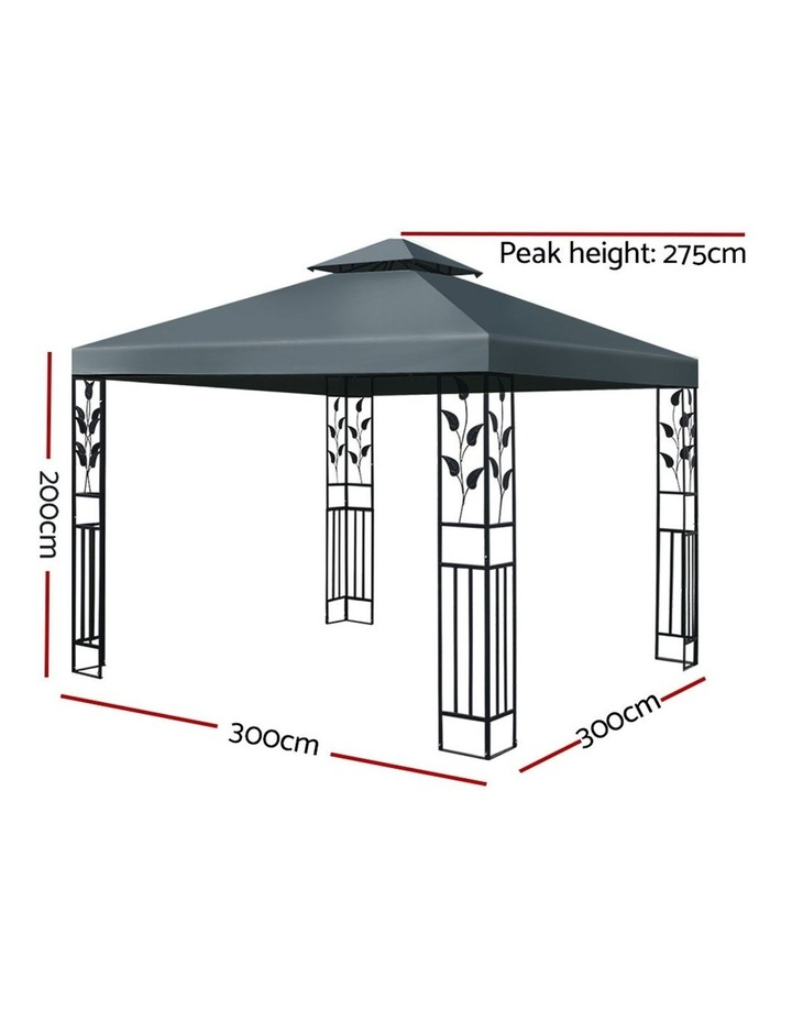 Gazebo 3x3m Party Marquee Outdoor Wedding Event Tent Iron Art Canopy Grey image 2