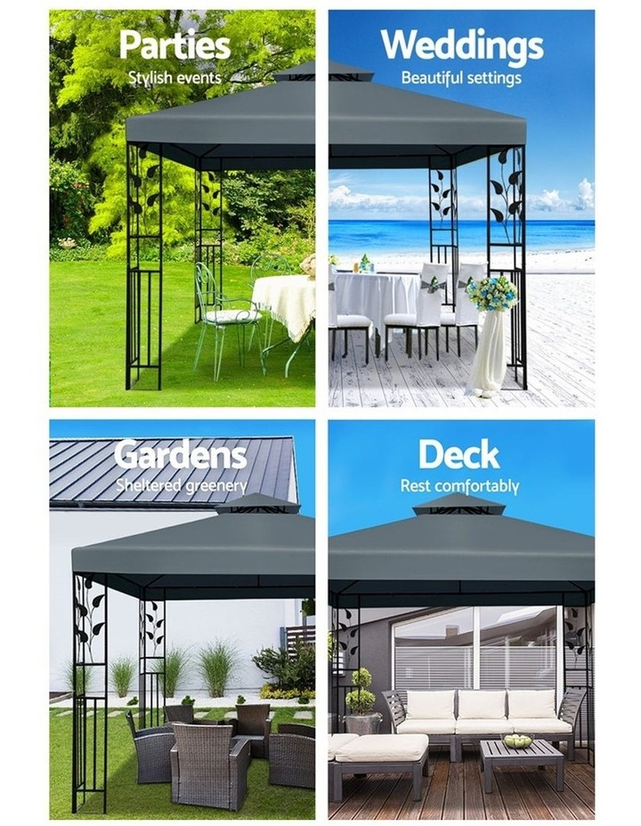 Gazebo 3x3m Party Marquee Outdoor Wedding Event Tent Iron Art Canopy Grey image 4