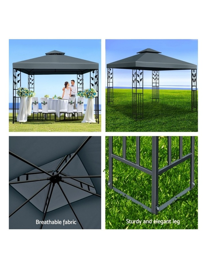 Gazebo 3x3m Party Marquee Outdoor Wedding Event Tent Iron Art Canopy Grey image 5