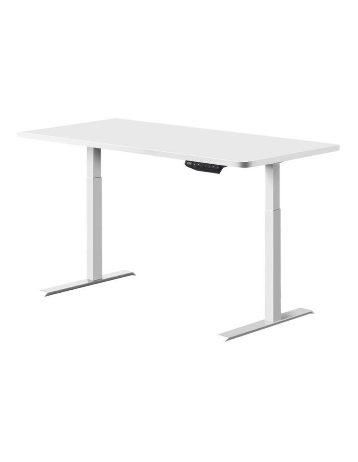 Standing Desk Motorised Sit Stand Table Height Adjustable Computer Laptop Desks Dual Motors 140cm White image 1