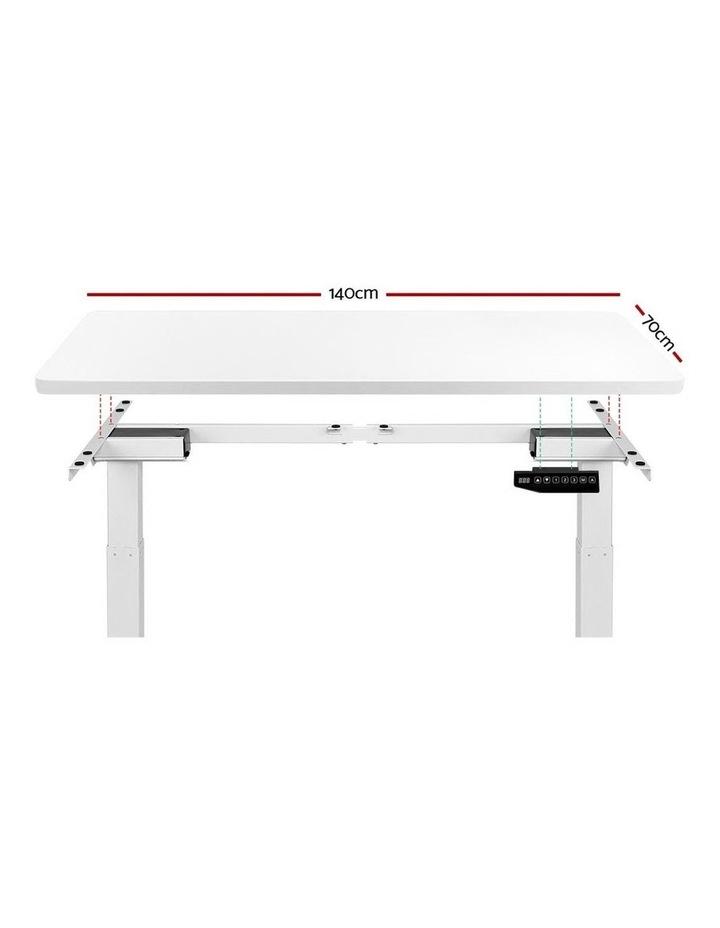 Standing Desk Motorised Sit Stand Table Height Adjustable Computer Laptop Desks Dual Motors 140cm White image 3
