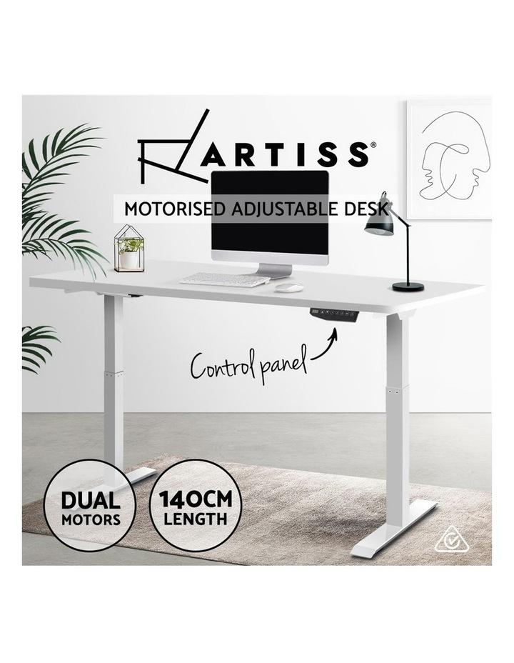 Standing Desk Motorised Sit Stand Table Height Adjustable Computer Laptop Desks Dual Motors 140cm White image 4