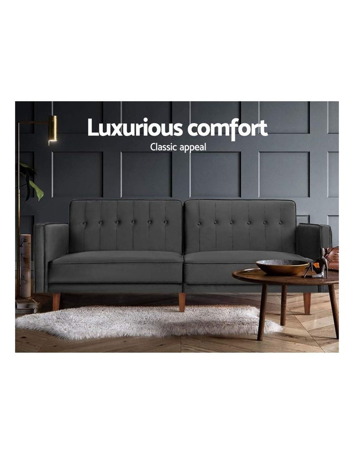 Sofa Bed Lounge 3 Seater Futon Couch Recline Chair Wood 195cm Velvet Grey image 3