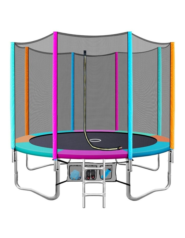 12FT Trampoline Round Trampolines Kids Enclosure Safety Net Pad Outdoor Multi-coloured Flat image 1