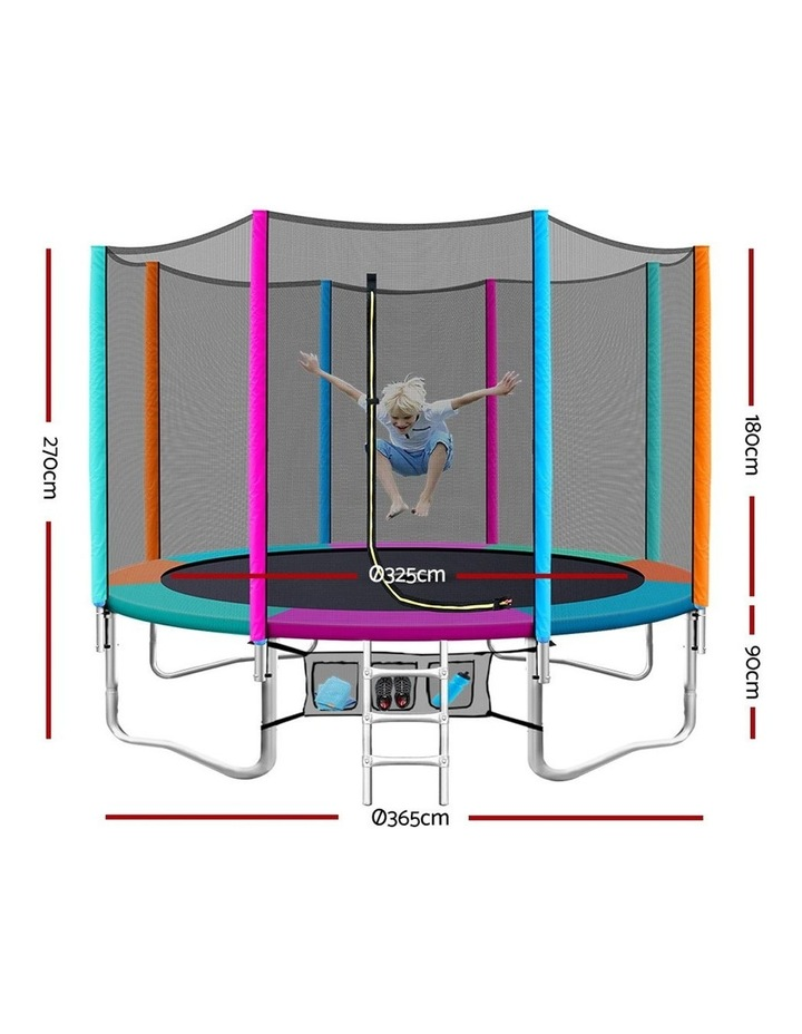 12FT Trampoline Round Trampolines Kids Enclosure Safety Net Pad Outdoor Multi-coloured Flat image 2