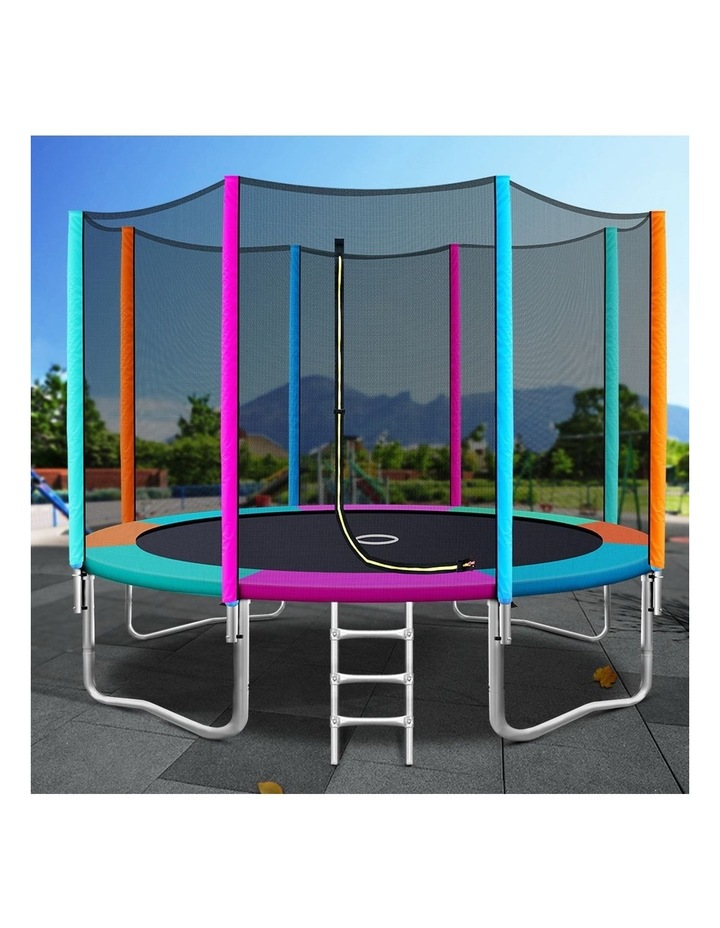 12FT Trampoline Round Trampolines Kids Enclosure Safety Net Pad Outdoor Multi-coloured Flat image 6