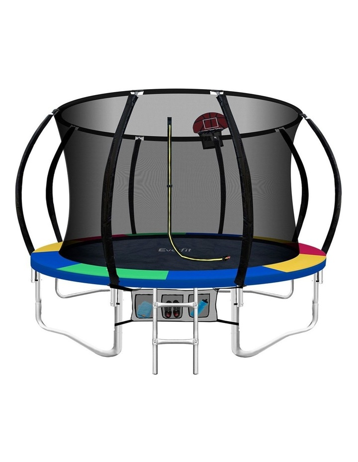 Everfit 10FT Trampoline Round Trampolines Kids Enclosure Safety Net Pad Outdoor Multi-coloured image 1