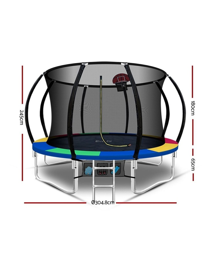 Everfit 10FT Trampoline Round Trampolines Kids Enclosure Safety Net Pad Outdoor Multi-coloured image 2