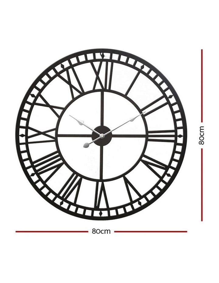 Wall Clock Extra Large Modern Silent No Ticking Movements 3D Home Office Kitchen Decor - 80cm image 2