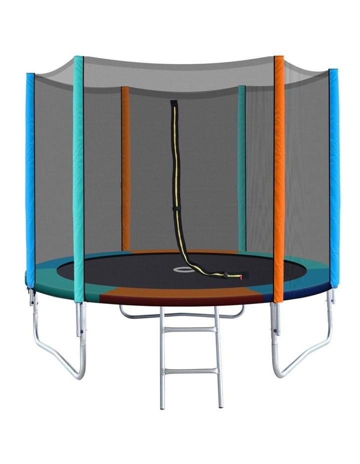 8FT Trampoline Round Trampolines Kids Enclosure Safety Net Pad Outdoor Multi-coloured Flat image 1