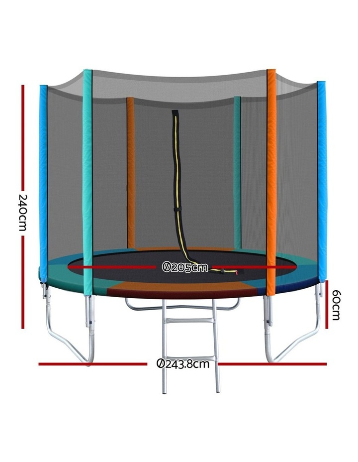 8FT Trampoline Round Trampolines Kids Enclosure Safety Net Pad Outdoor Multi-coloured Flat image 2