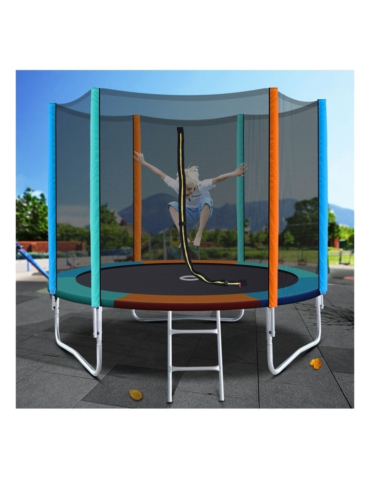 8FT Trampoline Round Trampolines Kids Enclosure Safety Net Pad Outdoor Multi-coloured Flat image 6