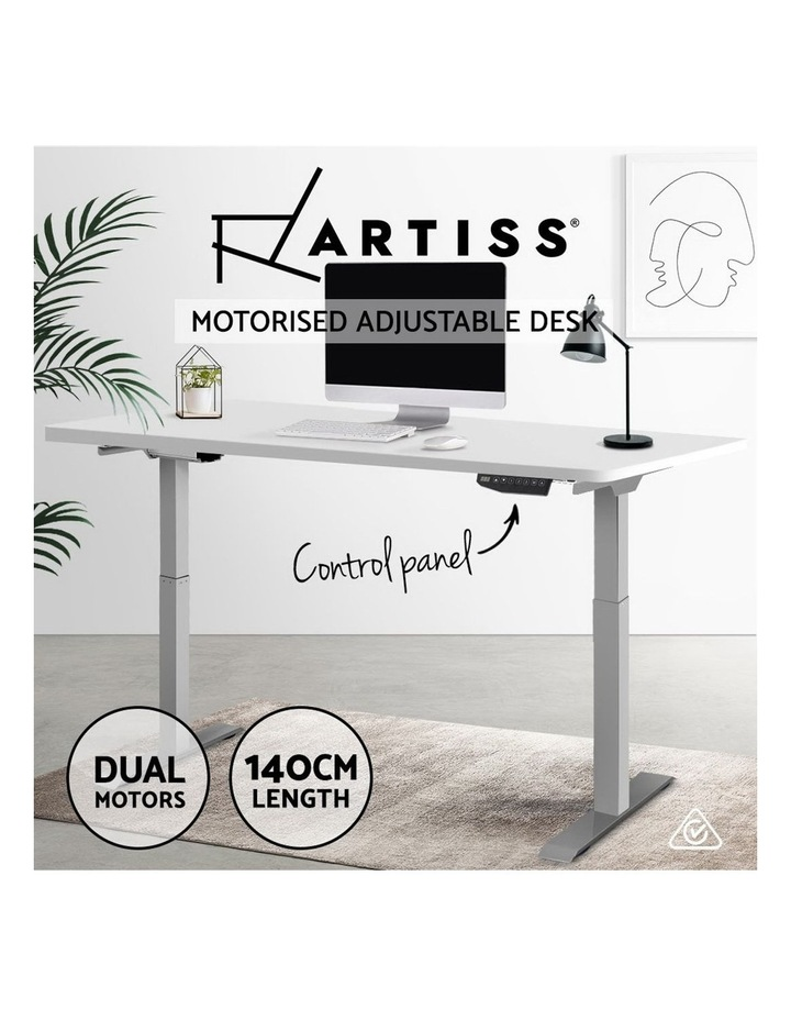 Sit Stand Standing Desk Motorised Electric Adjustable Laptop Computer Table Dual Motors 140cm image 4