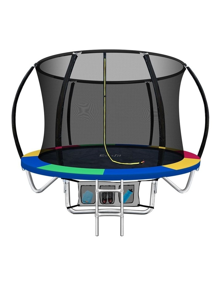 8FT Trampoline Round Trampolines Kids Enclosure Safety Net Pad Outdoor Multi-coloured image 1