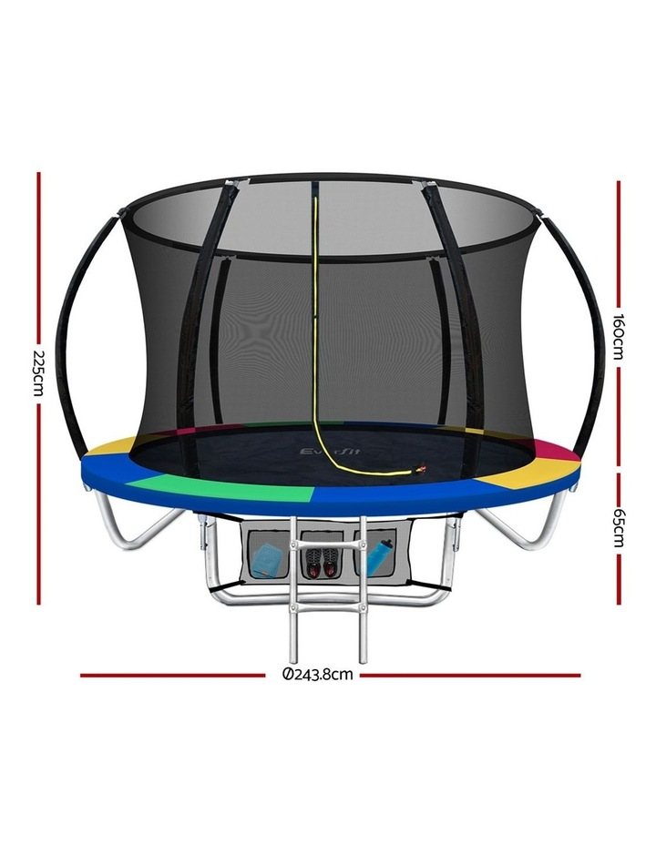 8FT Trampoline Round Trampolines Kids Enclosure Safety Net Pad Outdoor Multi-coloured image 2