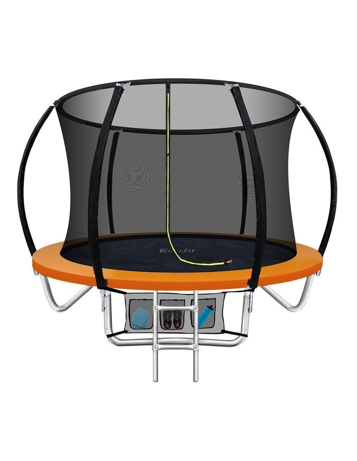 8FT Trampoline Round Trampolines Kids Enclosure Safety Net Pad Outdoor Orange image 1