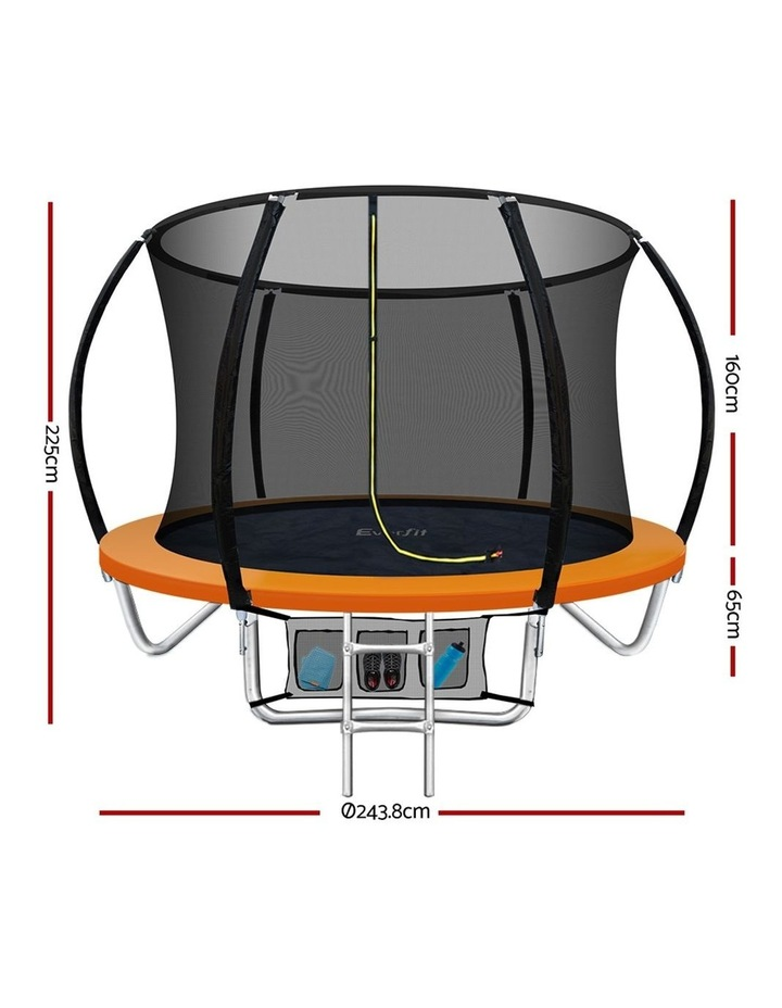 8FT Trampoline Round Trampolines Kids Enclosure Safety Net Pad Outdoor Orange image 2