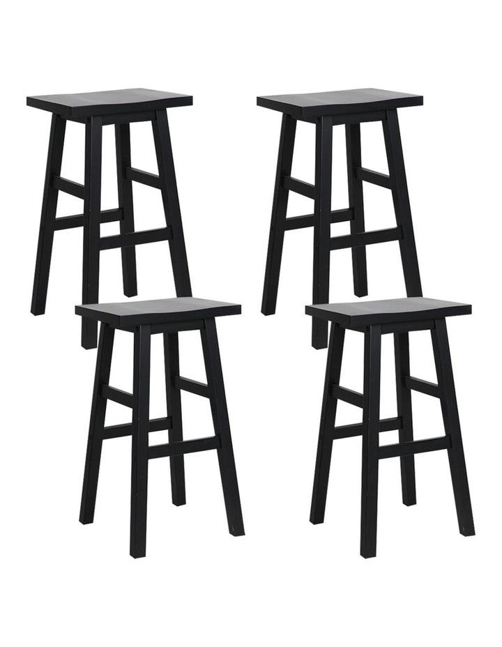 4x Wooden Bar Stools Kitchen Bar Stool Chairs Barstools Black image 1