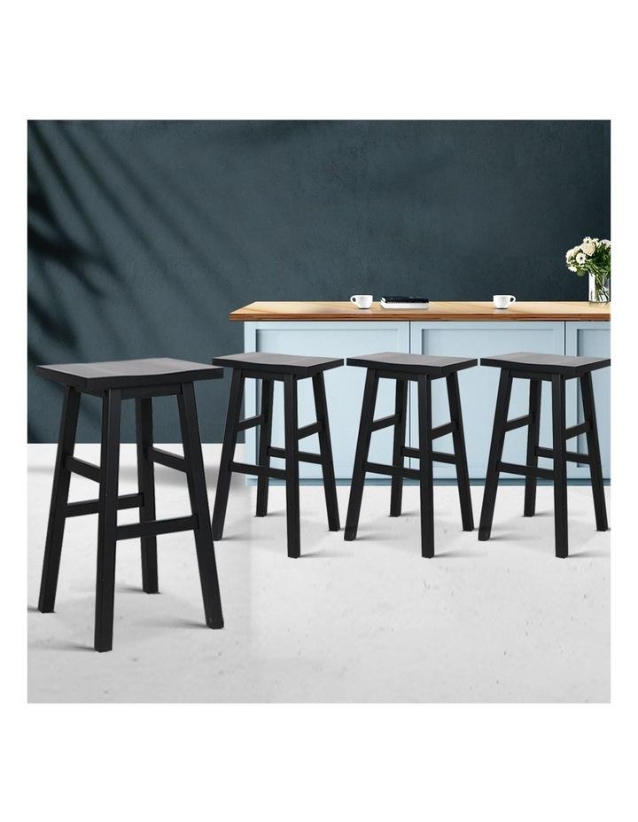 4x Wooden Bar Stools Kitchen Bar Stool Chairs Barstools Black image 3