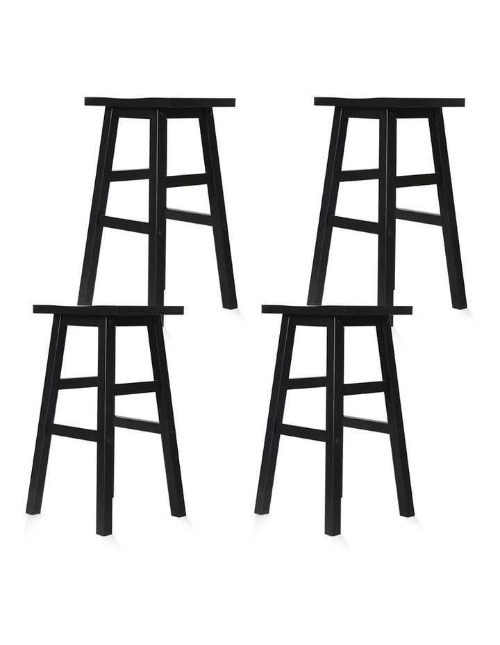 4x Wooden Bar Stools Kitchen Bar Stool Chairs Barstools Black image 4