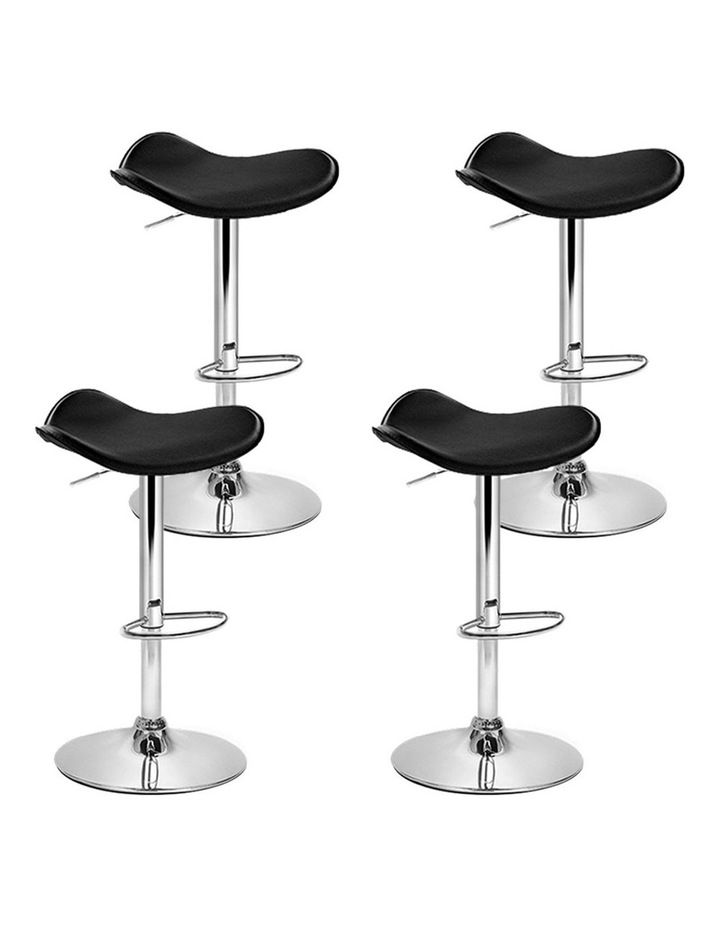 4x Kitchen Bar Stools Swivel Bar Stool Leather Gas Lift Chair Black image 1