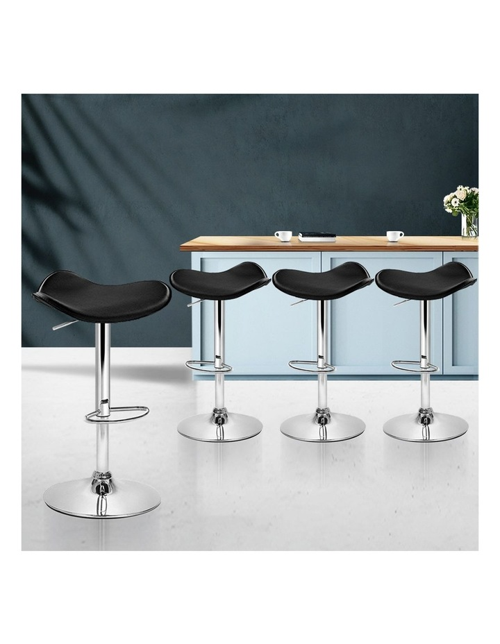 4x Kitchen Bar Stools Swivel Bar Stool Leather Gas Lift Chair Black image 3