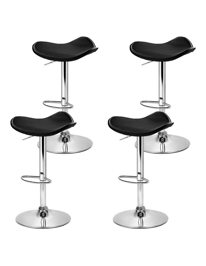 4x Kitchen Bar Stools Swivel Bar Stool Leather Gas Lift Chair Black image 4