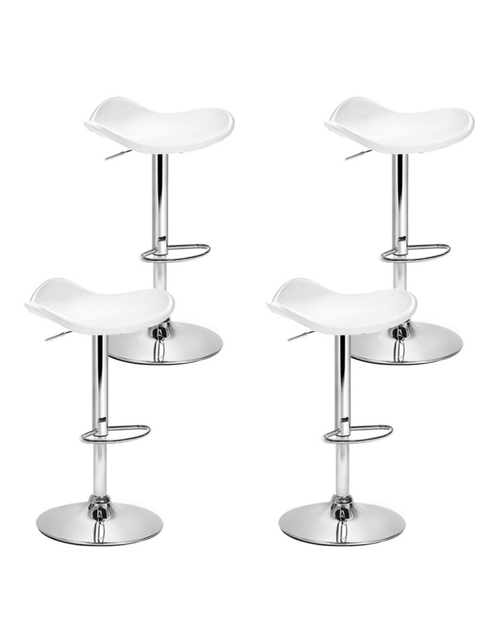 4x Kitchen Bar Stools Swivel Bar Stool Leather Gas Lift Chair White image 1