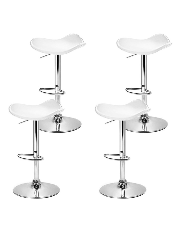 4x Kitchen Bar Stools Swivel Bar Stool Leather Gas Lift Chair White image 4