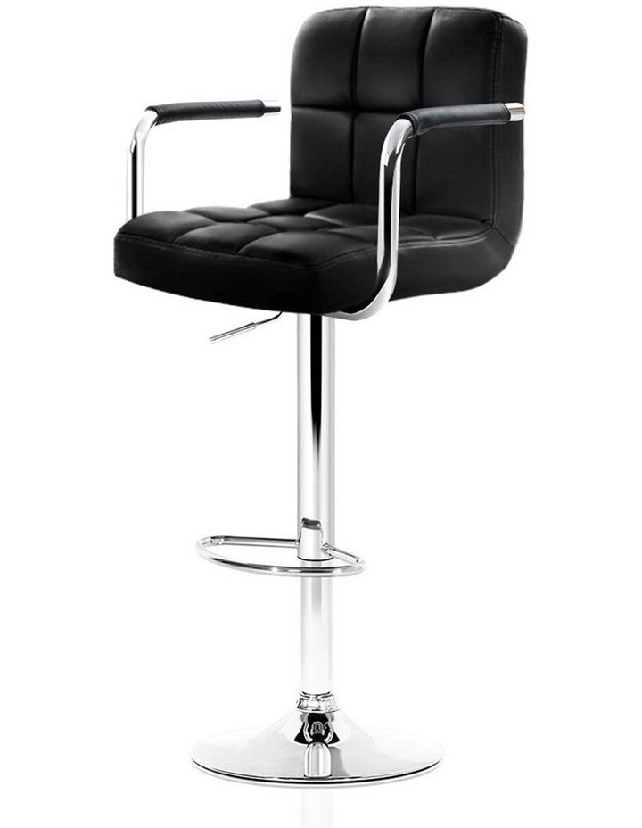 4x Bar Stools Kitchen Swivel Bar Stool Leather Gas Lift Chairs Black image 1