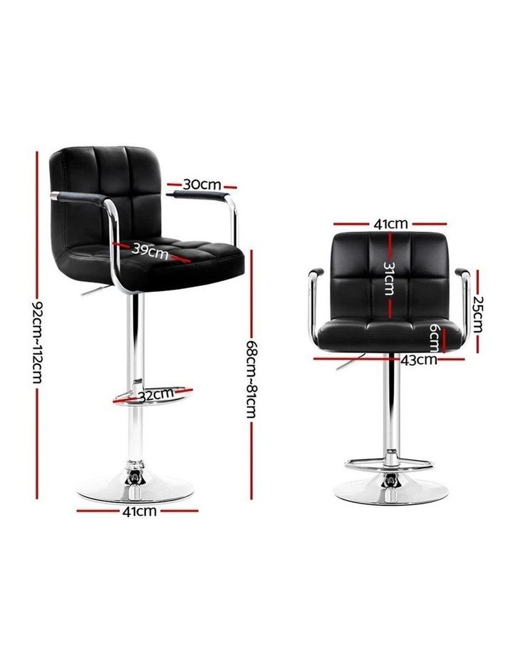 4x Bar Stools Kitchen Swivel Bar Stool Leather Gas Lift Chairs Black image 2