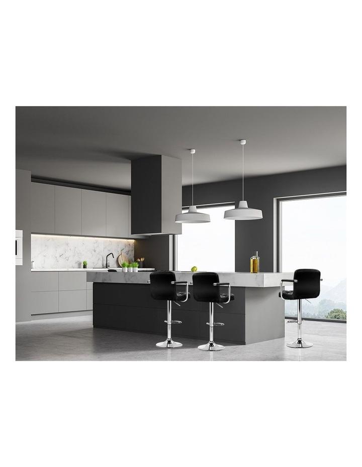 4x Bar Stools Kitchen Swivel Bar Stool Leather Gas Lift Chairs Black image 3