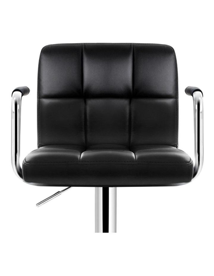 4x Bar Stools Kitchen Swivel Bar Stool Leather Gas Lift Chairs Black image 4
