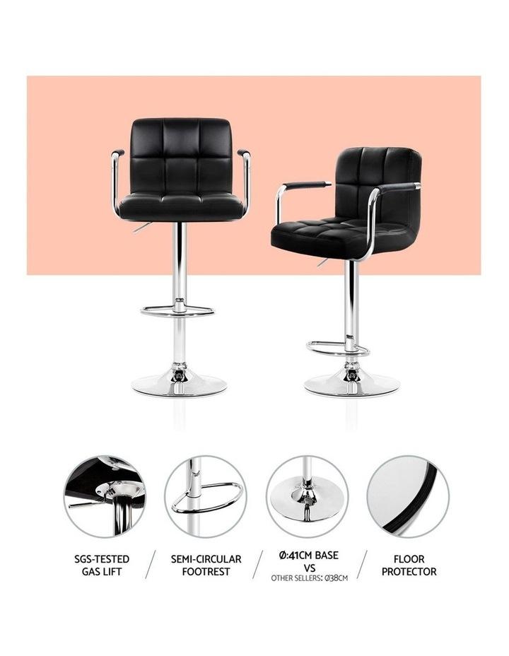 4x Bar Stools Kitchen Swivel Bar Stool Leather Gas Lift Chairs Black image 6