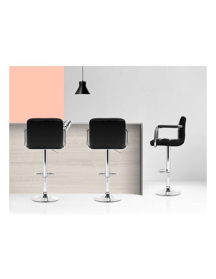 4x Bar Stools Kitchen Swivel Bar Stool Leather Gas Lift Chairs Black image 7