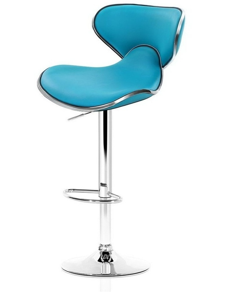 4x Kitchen Bar Stools Swivel Bar Stool Leather Gas Lift Chairs Teal image 1