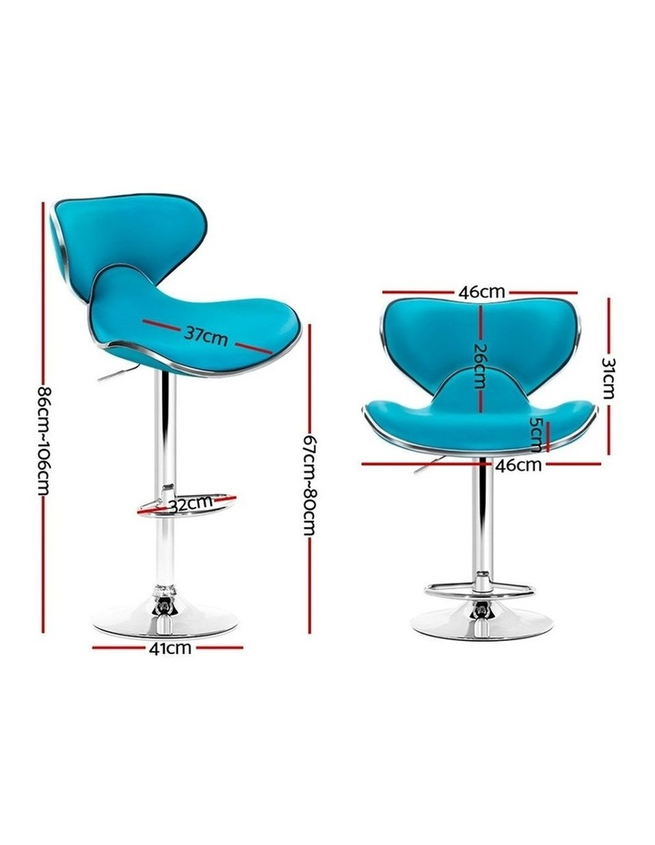 4x Kitchen Bar Stools Swivel Bar Stool Leather Gas Lift Chairs Teal image 2