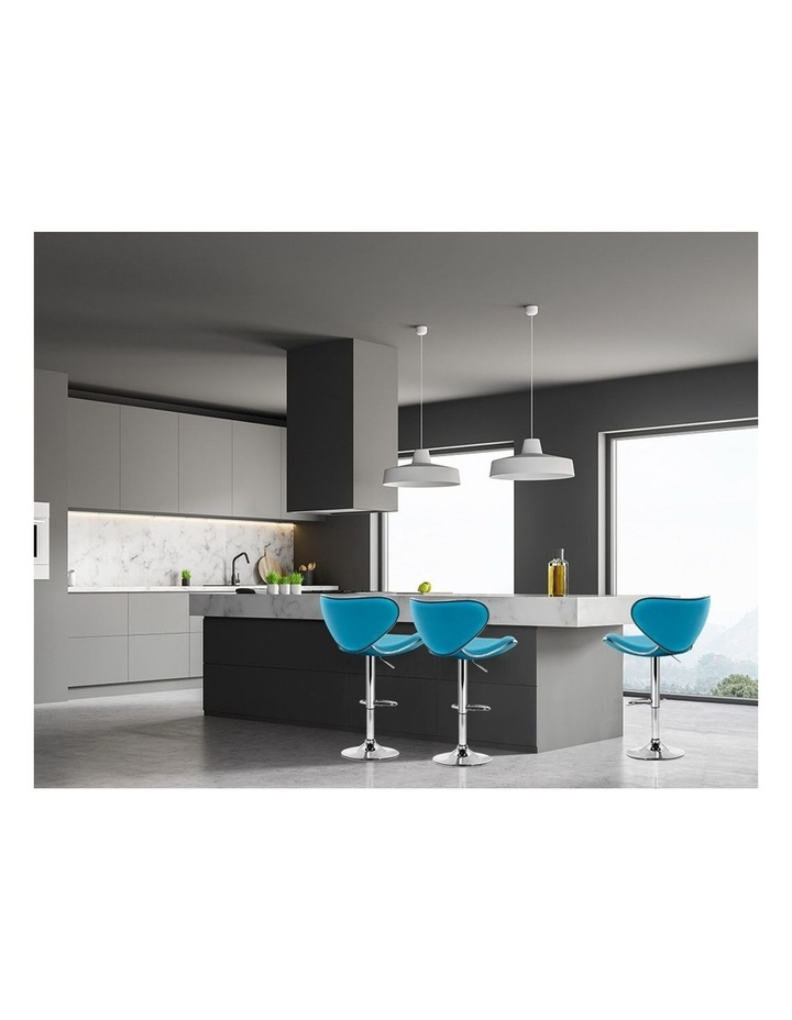 4x Kitchen Bar Stools Swivel Bar Stool Leather Gas Lift Chairs Teal image 3
