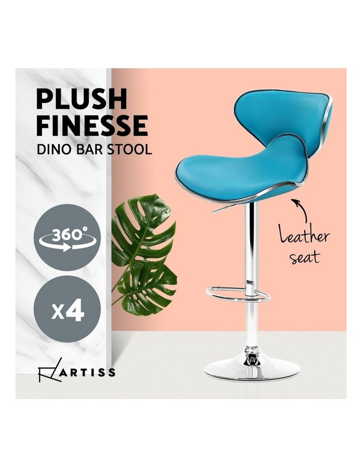 4x Kitchen Bar Stools Swivel Bar Stool Leather Gas Lift Chairs Teal image 5