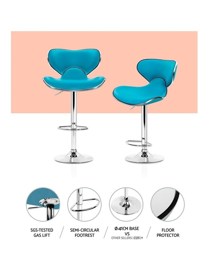 4x Kitchen Bar Stools Swivel Bar Stool Leather Gas Lift Chairs Teal image 6