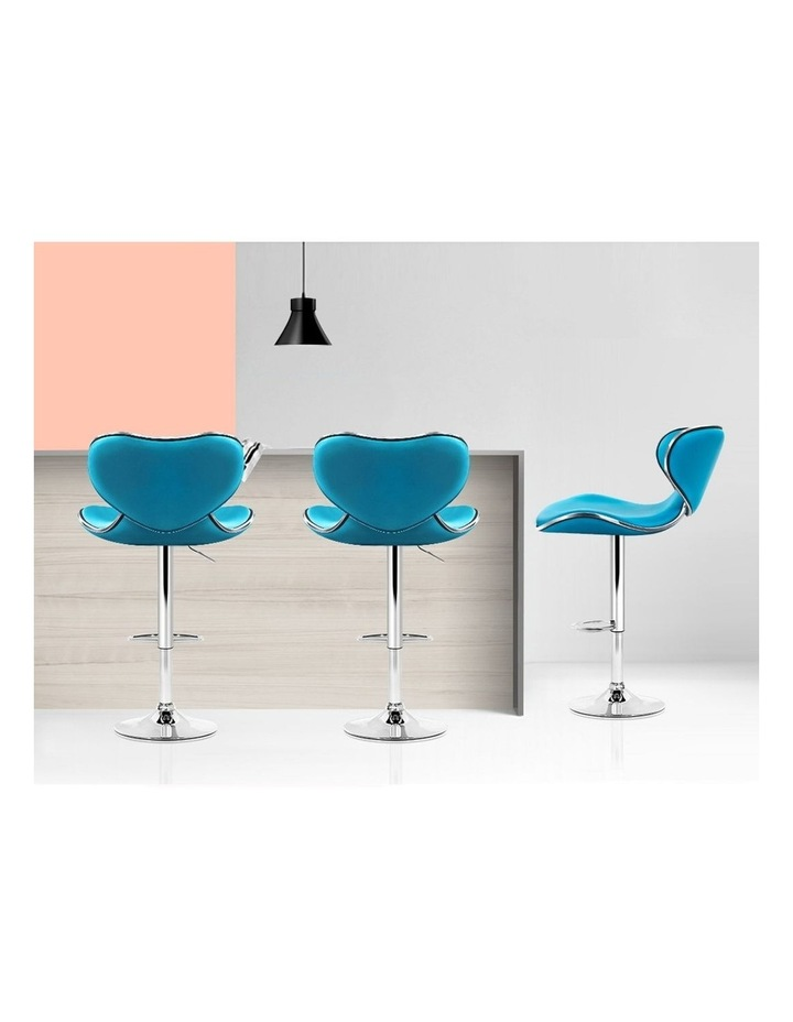 4x Kitchen Bar Stools Swivel Bar Stool Leather Gas Lift Chairs Teal image 7