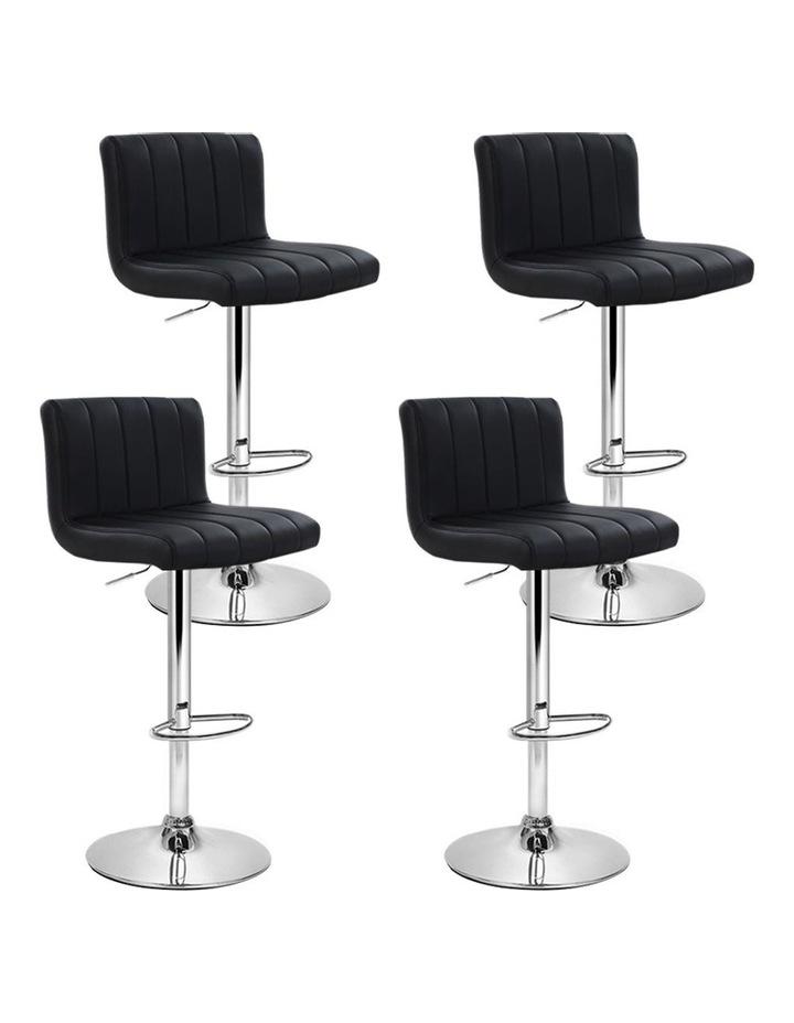 4x Leather Bar Stools Kitchen Chair Bar Stool Black Lana Gas Lift Swivel image 1