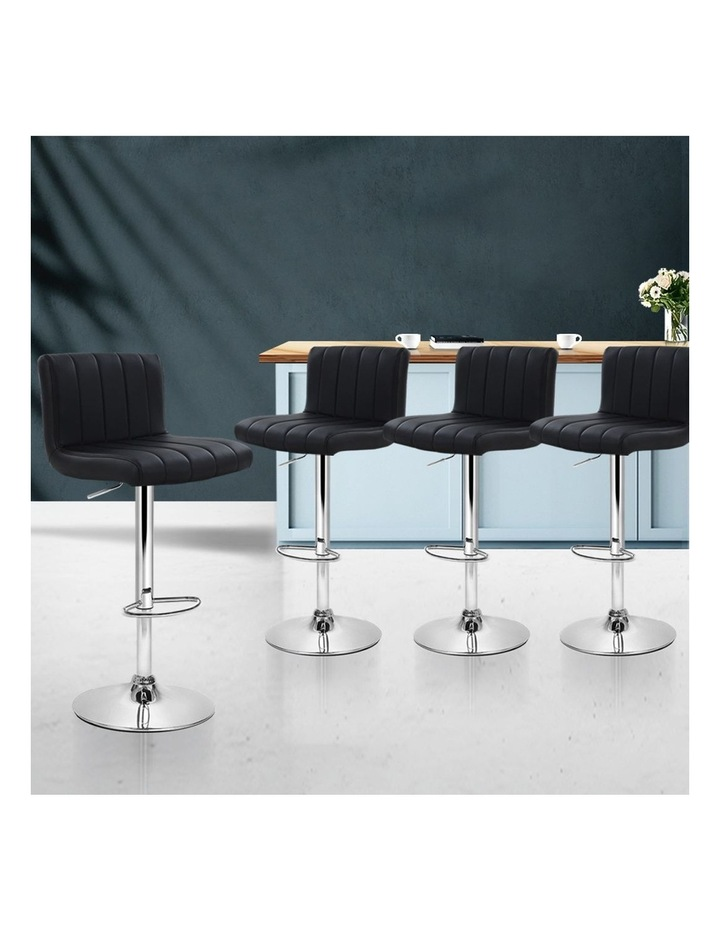 4x Leather Bar Stools Kitchen Chair Bar Stool Black Lana Gas Lift Swivel image 3