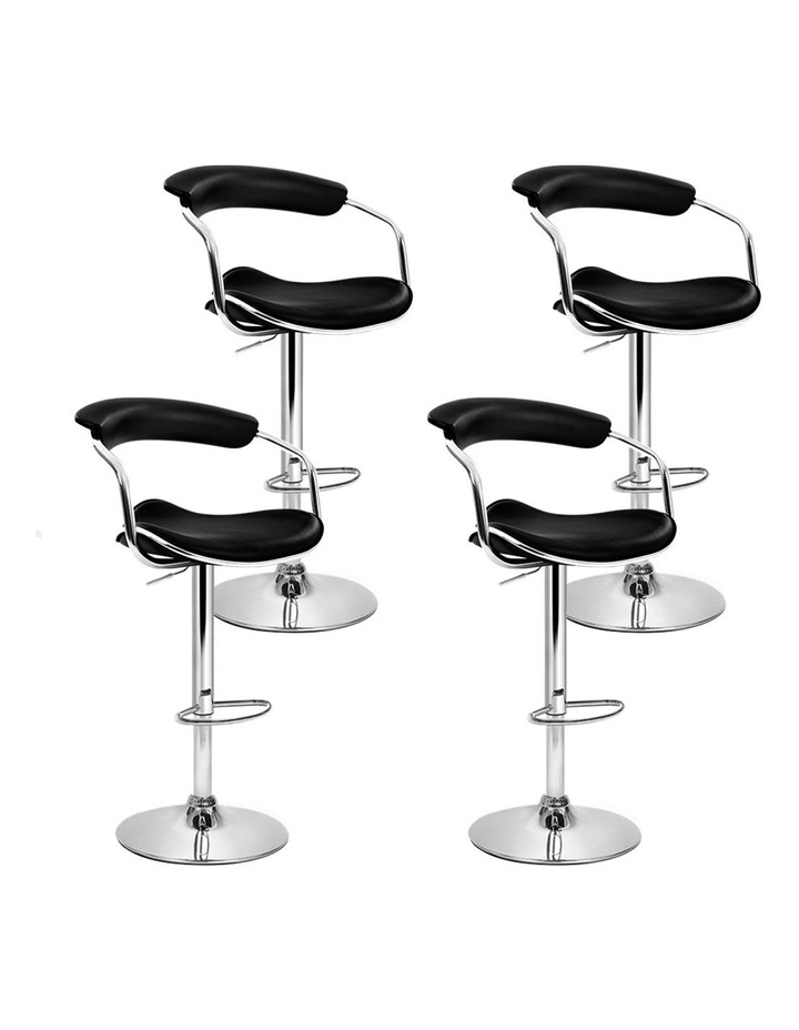 4x Leather Bar Stools ADE Kitchen Chairs Swivel Bar Stool Black Gas Lift image 1