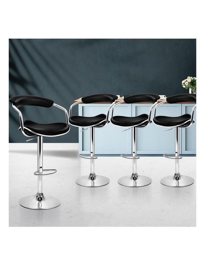 4x Leather Bar Stools ADE Kitchen Chairs Swivel Bar Stool Black Gas Lift image 3
