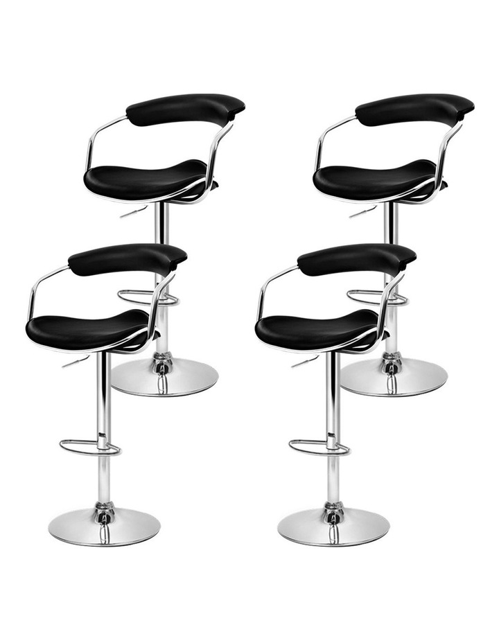 4x Leather Bar Stools ADE Kitchen Chairs Swivel Bar Stool Black Gas Lift image 4