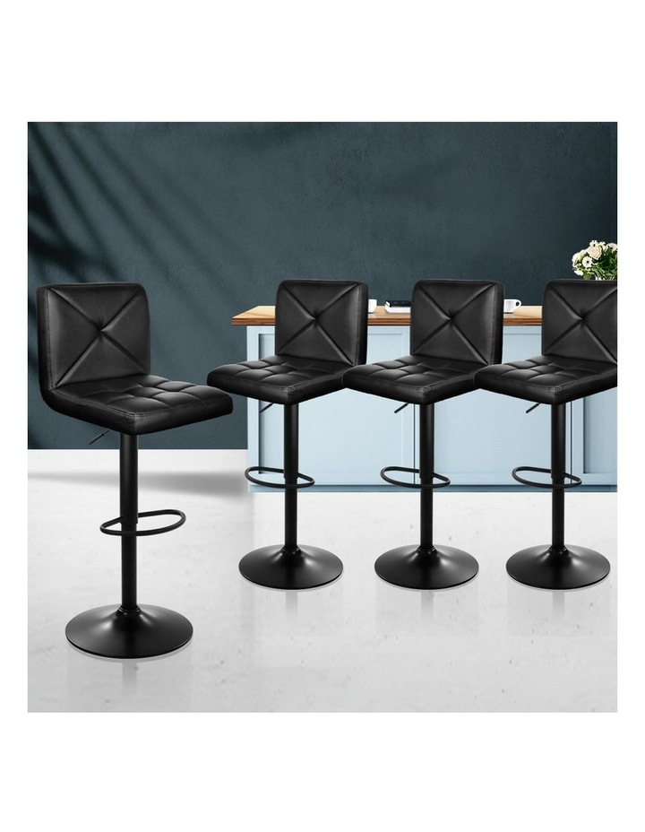 4x Bar Stools Leather Chrome Kitchen Cafe Bar Stool Chair Gas Lift Black image 3