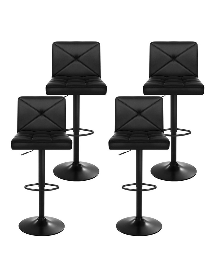 4x Bar Stools Leather Chrome Kitchen Cafe Bar Stool Chair Gas Lift Black image 4