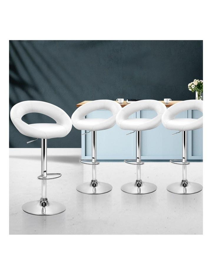 4x Bar Stools RIO Kitchen Swivel Bar Stool Leather Chairs Gas Lift White image 3